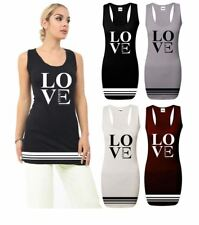 Ladies Love Print Racer Back Bodycon Dress Sleeveless Muscle Vest Top Gym Summer