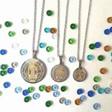 Stainless Steel Chain Necklace w Benedictine Medal Pendant (Gift ideas/Souvenir)
