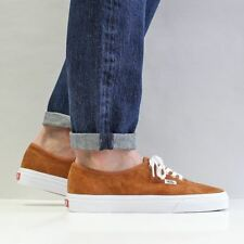 Vans Men's New Authentic Pig Suede Shoes Leather Brown True White