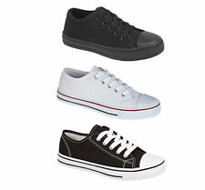 Boys Girls Kids Black White Casual Canvas Pumps Shoes Trainers Size 6 to 6