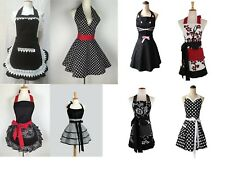Black Floral Patterned Apron Retro With Pocket Half Pinny Polka Dot 50s Girls
