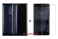 For Nokia 5 Back Cover Transparent Soft Silicon Case & Tempered Glass