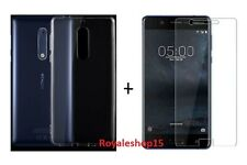 For Nokia 5 Back Cover Transparent Soft Silicon Case / Tempered Glass