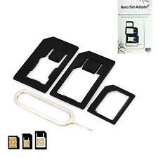 For iPhone 4 5 6 7 Nano Micro Standard SIM Adapter with PIN Needle Ejection Kit