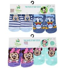 2 Pairs Baby Socks - 0-6 Mths / 6-12 Mths Disney Minnie / Mickey Mouse