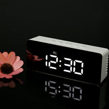 Digital LED Alarm Clock Snooze Function Mirror Indoor Thermometer Desktop Table