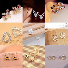 Stud Earrings 925 Sterling Silver/Gold & Metal Crystal Rhinestone Ear