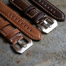 Premium Leather Brushed Buckle Watch Strap for Panerai Tan Brown Samsung Gear S3