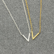 NEW V Shape Pendant Gold Silver Charm Necklace Chain Women Fashion Jewelry Gift