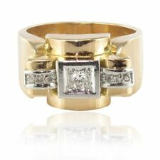 Anillo antiguo tank diamantes Oro amarillo 18K tank Ring