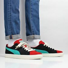 Puma Men's New Clyde From The Archive Suede Shoes Red Black Blue