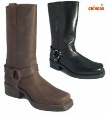 Gringos Mens High Harley Tall Biker Western Harness Leather Boots