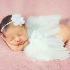 Infant Baby Feather Angel Wings Costume+Flower Headband Photography Props Outfit