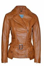 New Ladies Kim Fashion Designer Casual Style Tan Nappa Leather Feminine Jacket