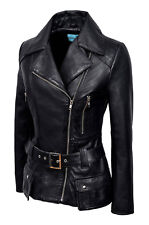 New Ladies Kim Fashion Designer Casual Style Black Nappa Leather Feminine Jacket