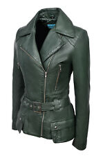 New Ladies Kim Fashion Designer Casual Style Green Nappa Leather Feminine Jacket