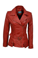 New Ladies Kim Fashion Designer Casual Style Red Nappa Leather Feminine Jacket