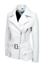 New Ladies Kim Fashion Designer Casual Style White Nappa Leather Feminine Jacket