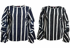 Womens Ruffle Shirt Tops Ladies Long Bell Sleeves Summer Casual Tee New Size S-L