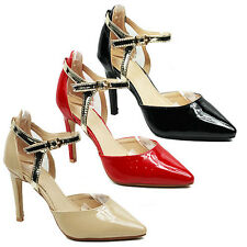 WOMENS ANKLE STRAP STILETTO HEEL COURT SHOES SANDALS LADIES SHOES NEW SIZE 3-8