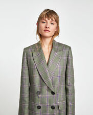 ZARA SS18 100% Linen Green Checked Tailored Double Breasted Blazer Jacket Sz S