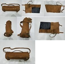 Real Genuine Vintage Tan Leather Chef Knives Bag/Pouch / Case/Roll 8/10 Pockets