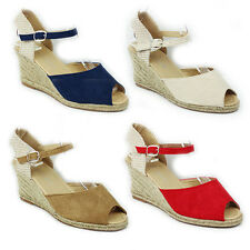 WOMENS PEEP TOE WEDGE HEEL ANKLE STRAP SANDALS ESPADRILLES LADIES SHOES SIZE 3-8