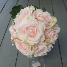 Artificial Vintage Wedding Bouquets with Pearls - Rose or Peony - Pink or Ivory