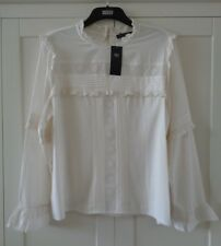 Marks & Spencer Lace Frill Cream Blouse Top Plus Size 18 20 M&S RRP £29.50