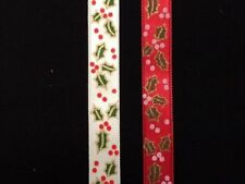 Christmas Holly Berry Satin Ribbon Cream or Red by the metre