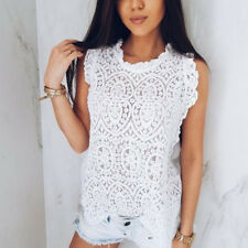 Summer Holiday Women Ladies Lace Sleeveless Vest T-Shirt Casual Blouse Tops