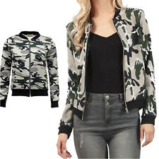 Womens Bomber Jackets Ladies Classic Biker Coats Army Camouflage Zip Up Outwear