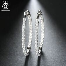 Silver Color High Polished Hoop Earrings Paved with AAA Austrian Cubic Zirconia