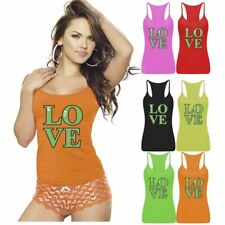 Womens Love Story Design Printed Vest Top Summer Strappy RacerBack Sports Wear
