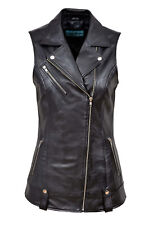 Mary Ladies Biker Fashion Designer Casual Style Black Nappa Leather Waistcoat