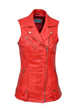 Mary Ladies Biker Fashion Designer Casual Style Red Soft Nappa Leather Waistcoat
