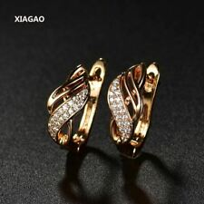 Design Gold-color Charm Austrian Crystal Hoop Earrings Shiny Rhinestone Delicate