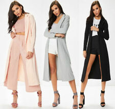 Womens Long Sleeve Long Line Collared Duster Ladies Jacket Coat Top Size UK 8-14