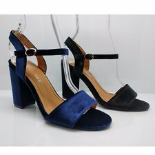 WOMENS LADIES VELVET BLOCK HEELS FORMAL PARTY SANDALS ANKLE STRAP SHOES SIZE