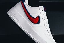 Nike Air Force 1 One 07 Low LV8 Chenille Swoosh White Blue Red 6 7 8 9 10 11 12