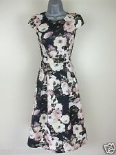 Dorothy Perkins Tea Dress Scuba Floral Print Fit & Flare Party Shift Size 10