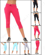 New Ladies Womens 3/4 Shorts Jog Cropped Bottoms Capri Trouser Stretch Pant S-XL