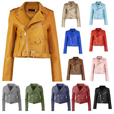 New Womens Faux Leather Biker Belted Zip Front Crop Length PU Ladies Jacket Coat