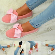 LADIES WOMENS FLAT SNEAKERS BOW COMFY SLIP ON TRAINERS PLIMSOLLS PUMPS SHOES