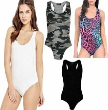 Womens Ladies Racer Back Muscle Vest Sleeveless Leotard Bodysuit Stretchable Top