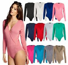 Wrap Over V Neck Womens Plunge Bodysuit Long Sleeve Plain Ladies Stretch Leotard