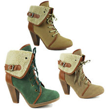 WOMENS FOLD OVER FUR LINED COLLAR CUBAN HEEL LACE UP LADIES ANKLE BOOTS SIZE 3-8