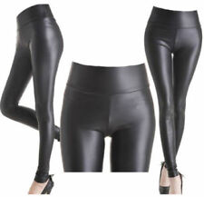 NEW PVC HIGH WAIST BLACK FAUX LEATHER LEGGING WET LOOK SHINY STRETCHY TIGHT PANT