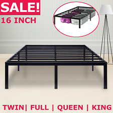 METAL PLATFORM BED FRAME Steel Slat Twin Full Queen King Size Bed 16 Inch Tall