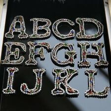 26 English Letters alphabet Rhinestones beads patches applique sew on decoration